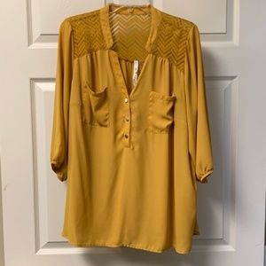 GOLD BLOUSE WITH LACY SHOULDER DETAIL